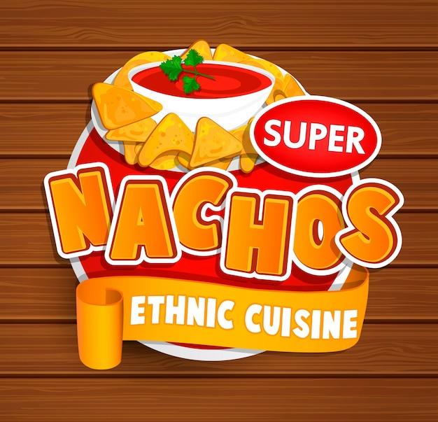 Logotipo de cocina étnica nachos.