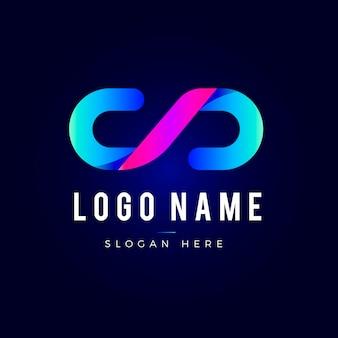 Logotipo de código de degradado creativo