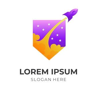 Logotipo del cohete escudo, escudo y cohete, logotipo combinado con estilo de color morado y amarillo