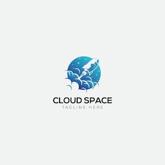 Logotipo de cohete y espacio en la nube