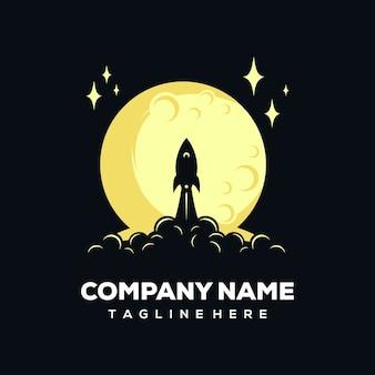 Logotipo de cohete y luna