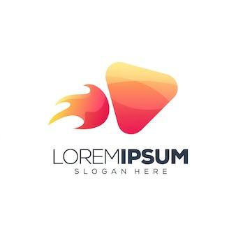 Logotipo de cohete multimedia