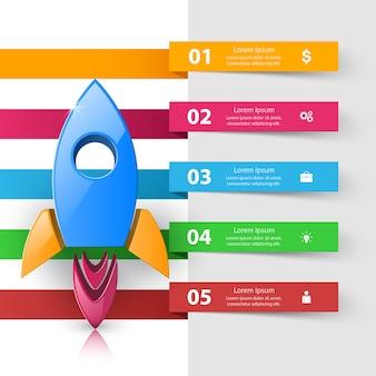 Logotipo del cohete. plantilla de diseño infográfico y los iconos de marketing