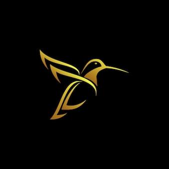 Logotipo de colibrí dorado