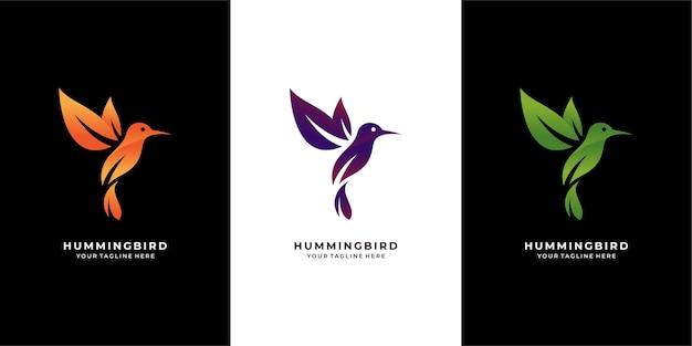 Logotipo de colibrí de hojas modernas