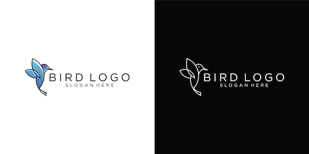 Logotipo de colibrí, logotipo de arte de línea animal
