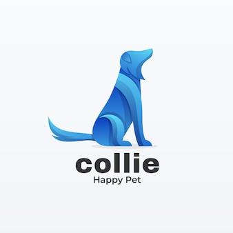Logotipo collie gradiente estilo colorido