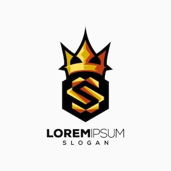 Logotipo de color de corona de letra s