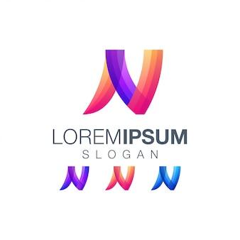 Logotipo de color degradado abstracto letra n