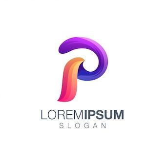 Logotipo de color degradado abstracto letra p