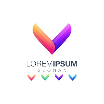 Logotipo de color degradado abstracto letra v