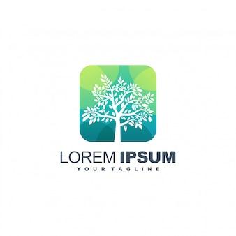 Logotipo de color degradado de árbol abstracto