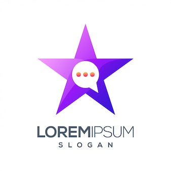 Logotipo de color degradado de chat de estrella