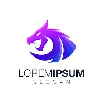 Logotipo de color degradado de dragón