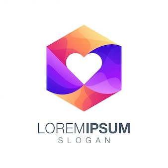 Logotipo de color degradado hexágono amor