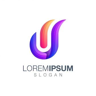 Logotipo de color degradado de letra w