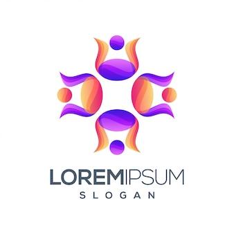 Logotipo de color degradado de personas
