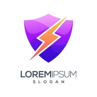 Logotipo de color degradado de rayo