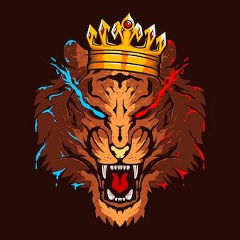 Logotipo de color de ilustración de cabeza de rey tigre