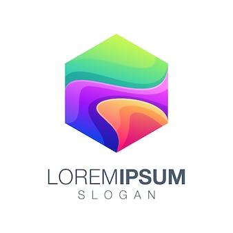Logotipo de color de inspiración hexagonal