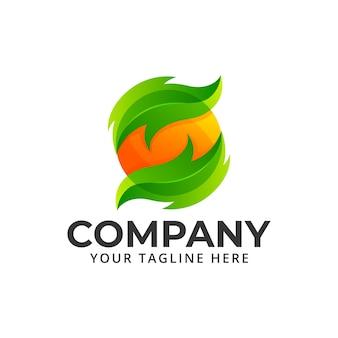 Logotipo de color de naturaleza fresca de frutas de hoja