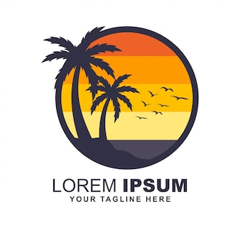 Logotipo de color plano de playa puesta de sol amanecer
