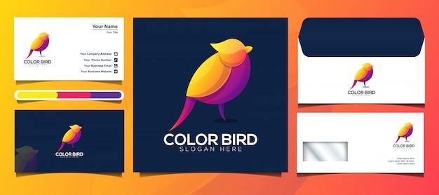Logotipo de colorful bird y plantilla de diseño de identidad de marca