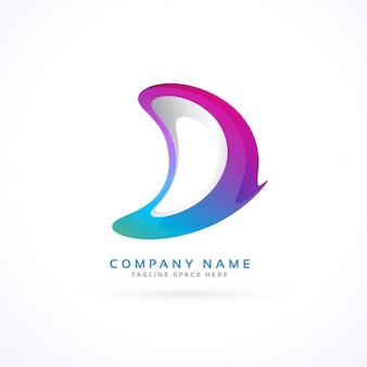 Logotipo con una colorida forma abstracta