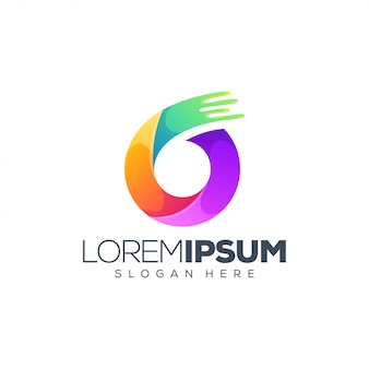Logotipo colorido con 6 números y plantilla de eslogan