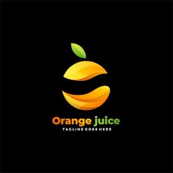 Logotipo colorido degradado de frutas de jugo de naranja.