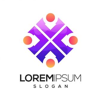 Logotipo colorido degradado de personas