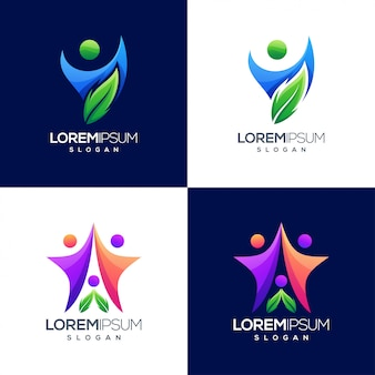 Logotipo colorido degradado de personas
