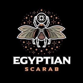 Logotipo colorido del escarabajo egipcio