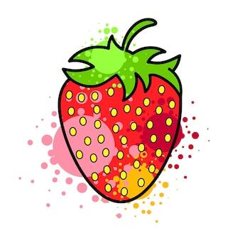 Logotipo colorido de fresa. símbolo de estilo de dibujos animados de fresa. aislado en un fondo blanco.