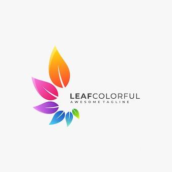 Logotipo colorido de la hoja.