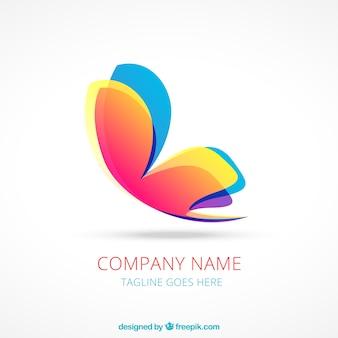 Logotipo colorido de mariposa