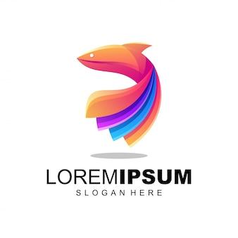 Logotipo colorido de peces