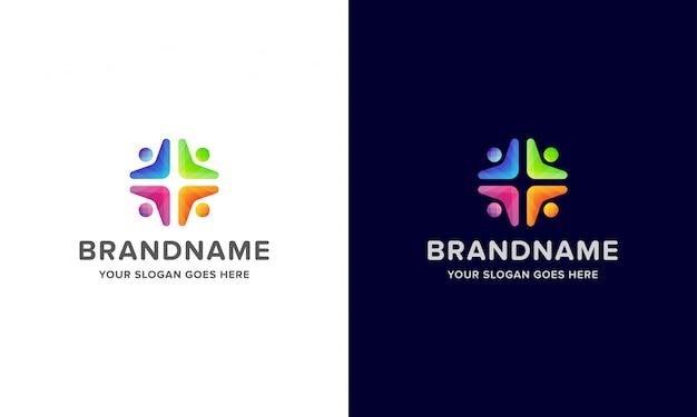 Logotipo colorido de personas creativas