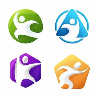 Logotipo colorido de personas humanas de familia