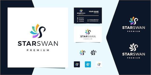 Logotipo colorido de star + swan