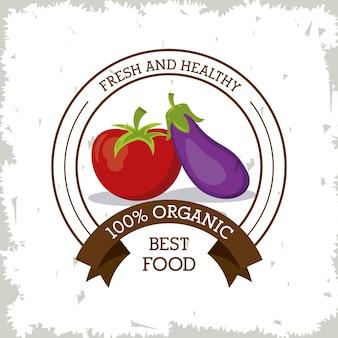 Logotipo colorido con tomate y berenjena