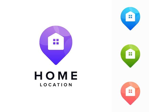 Logotipo colorido de ubicación de casa