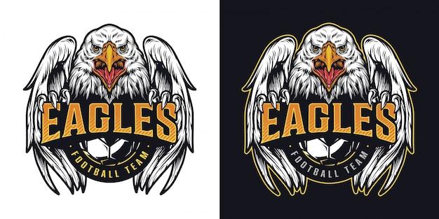 Logotipo colorido vintage del equipo de fútbol