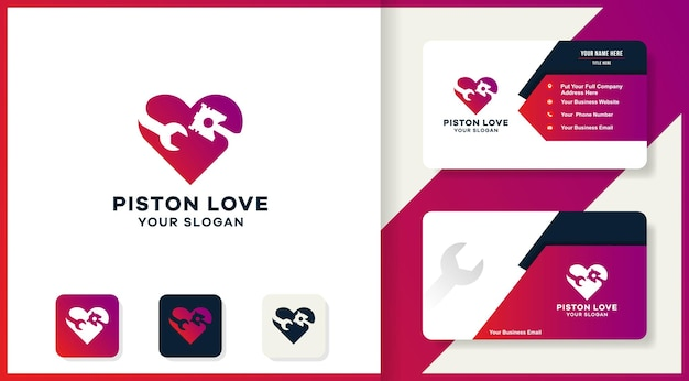 Logotipo de combinación de amor de pistón de herramienta y diseño de tarjeta de visita