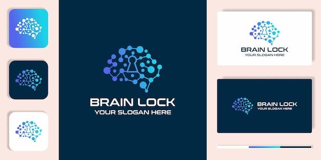 Logotipo de combinación de bloqueo cerebral con molécula de punto y diseño de tarjeta de visita