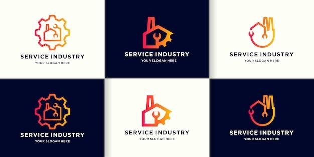Logotipo de combinación de engranajes de herramientas de construcción