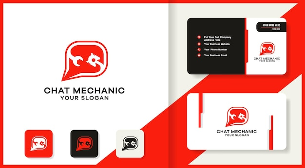 Logotipo de combinación de pistón de herramienta de chat y diseño de tarjeta de visita
