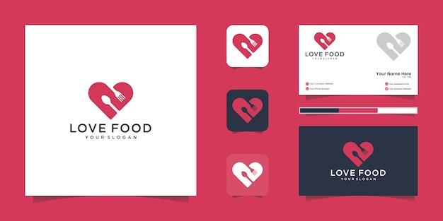 Logotipo de comida de amor para restaurante e inspiración para tarjetas de visita