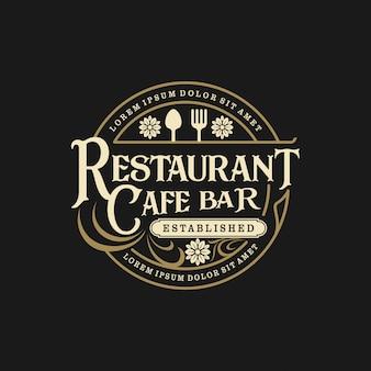 Logotipo de comida bebida en restaurante de estilo vintage y cafetería bar