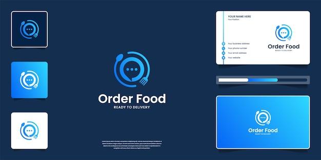 Logotipo de comida con iconos de aplicaciones, restaurante, cafetería. combine el diseño de logotipo de charla, tenedor, cuchara y tarjeta de presentación